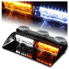 Car 16 LED Amber/White Police Strobe Flash Light Dash Emergency Flashing Light