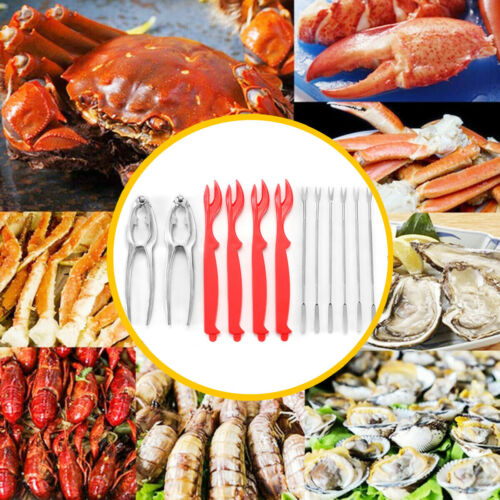 12Pcs Crab Crackers Nut Cracker Forks Set Opener Shellfish Seafood Tools Set Red