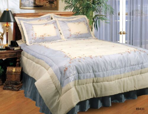 Ribbon Embroidered Floral Comforter Set 3PCS Blue QUEEN or KING New 8431