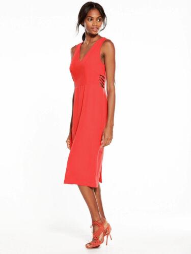 UK 12 V by Very Eyelet Bodycon Dress Red