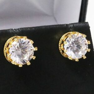 Sparkling-Round-Cubic-Zirconia-Earring-Stud-Women-Jewelry-14K-Yellow-Gold-Plated