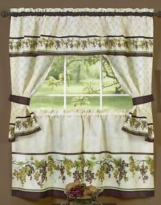 Details about 3 pc Kitchen Curtains Tailored Cottage Set, GRAPES TUSCANY by  Achim
