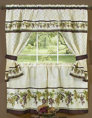 3 Pc Kitchen Printed Curtains Tailored Cottage Set Grapes Tuscany By Achim Ebay