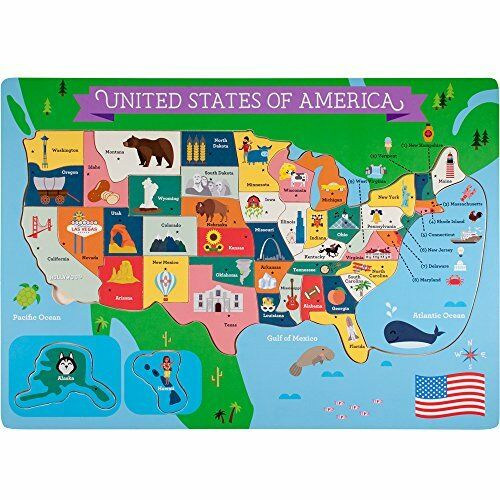 Professor Poplar/'s Fifty Nifty United States USA Map Wooden Jigsaw Puzzle
