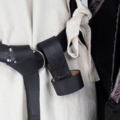 Hornhalter für Mittelaltergürtel Trinkhornhalter ohne+mit Prägung schwarz+braun