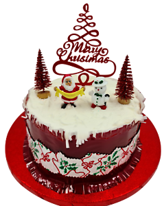 5 Pcs Set Merry Christmas Cake Decorations yule log cupcake toppers RED GLITTER