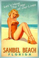 Sanibel Beach Florida -new Gulf Coast Tropic Poster Pin Up Girl Art Print 205