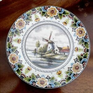 Vintage-DELFT-POLYCHROME-Plate-Limited-Edition-Windmill-Handmade-Holland