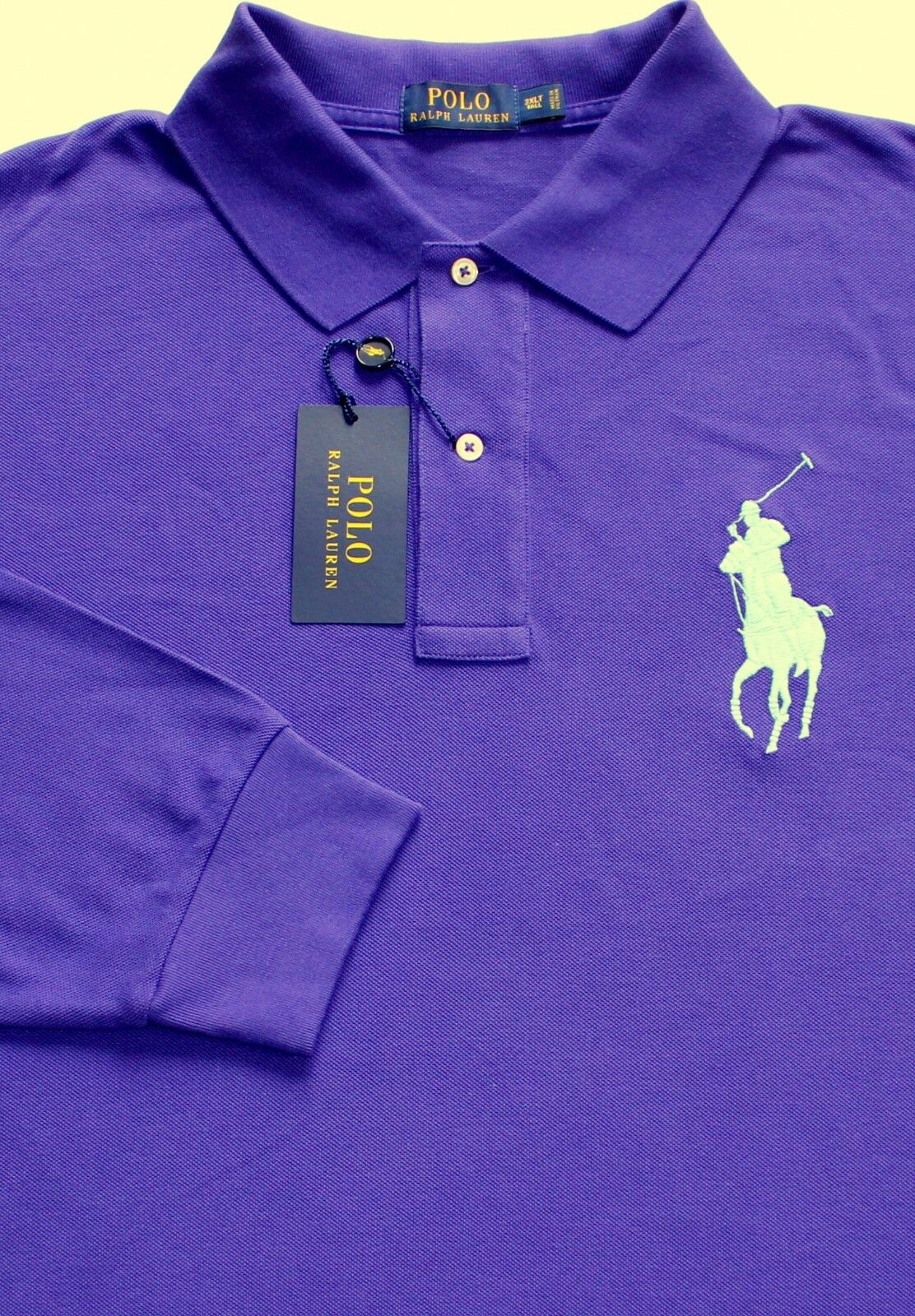 New Polo Ralph Lauren Long Sleeve Racing Purple Big Pony Mesh Polo Shirt Big 3X