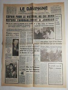 N287-La-Une-Du-Journal-Le-dauphine-4-avril-1968-espoir-Vietnam-ho-chi-Minh