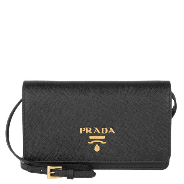 b8d9a88b5164 100% AUTH NEW PRADA SAFFIANO LUX BLACK SMALL CROSSBODY WALLET/HANDBAG/BAG
