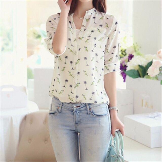 Fashion Women Casual Loose Chiffon T Shirt Bird Print Long Sleeve Tops Blouse