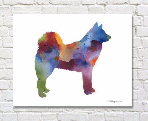 "Finnish Spitz Abstract Watercolor 11/"" x 14/"" Art Print by Artist DJ Rogers"