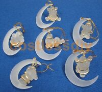 6 Santa on the Moon Frosted Christmas Tree Decorations with Gold Hanging Thread