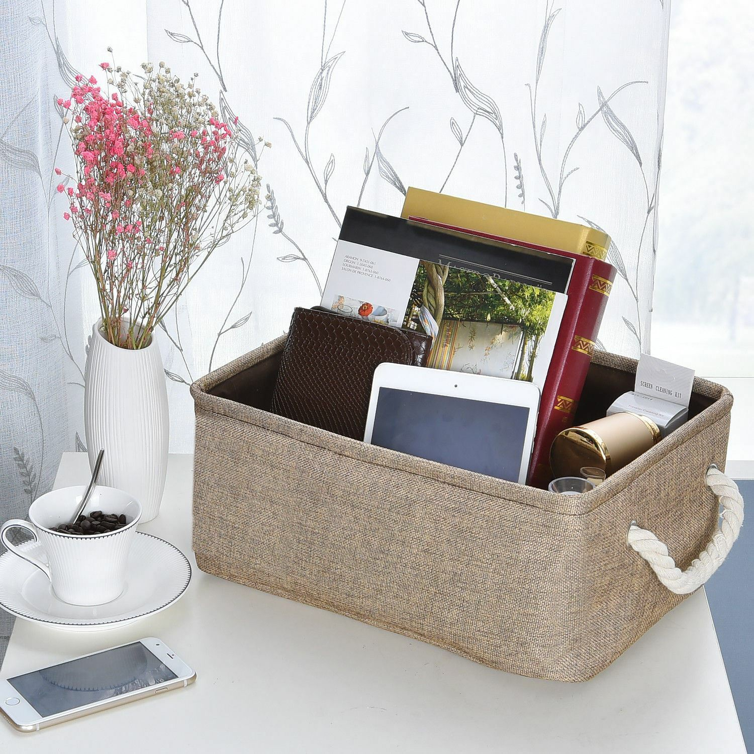 Fabric Storage Baskets and Bin Organizer Set for Home With Drawer Handles