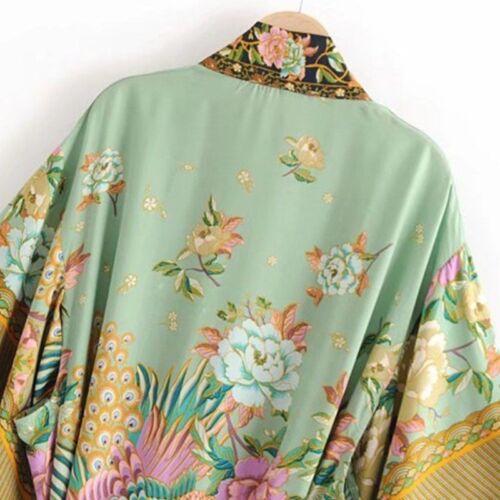Ladies Bathrobe Peacock Japanese Kimono Sleepwear Shower Accessories Nightgown