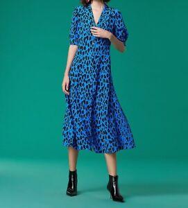 DIANE-VON-FURSTENBERG-Cinch-Sleeve-Silk-Shirt-Dress-Whitman-Cobalt-12222DVF-NEW