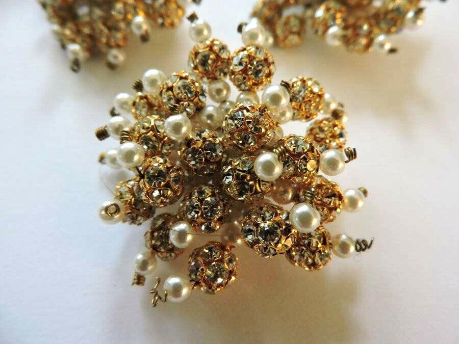 Stunning Vintage Crystal Rhinestone Faux Pearl Go… - image 7