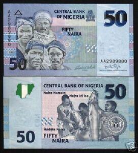 Africa Paper Money: World Humble Nigeria 50 Niara P35 2006 Bundle Horse Fish Map Unc Bank Note 100 Pcs Money Lot By Scientific Process