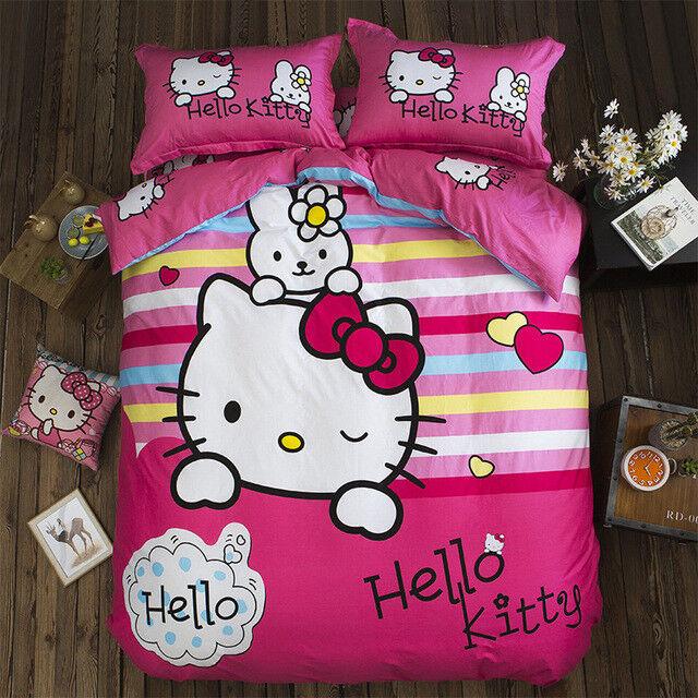 3D Hello Kitty Cartoon Pink Stipped Cotton 400TC Duvet Cover Comforter Set