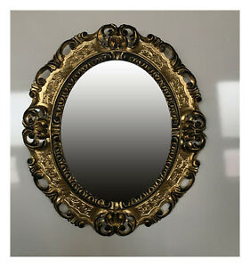 barock antik bilderrahmen in gold schwarz bild foto fotorahmen oval 45x38 cm ebay. Black Bedroom Furniture Sets. Home Design Ideas