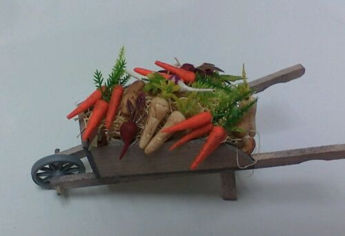 Dollhouse mini112 handcrafted wood garden wheelbarrow filled w root vegetables