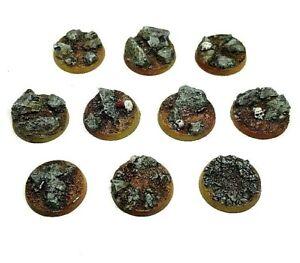 Profane Creations Custom Cast Blasted Earth 25mm Round Resin Bases 10