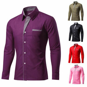 Business-Men-039-s-Slim-Fit-Casual-Shirts-Long-Sleeve-Formal-Dress-Luxury-Shirt-Tops