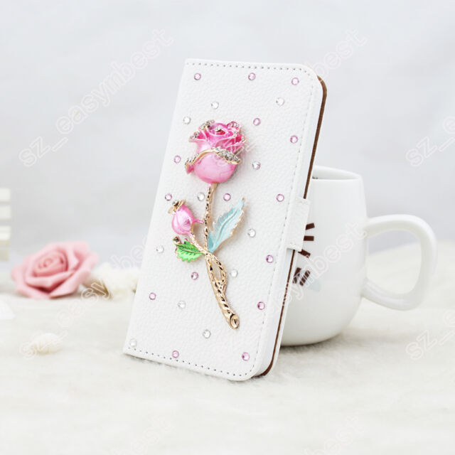 Bling Diamond Flip Wallet PU Leather White Phone Case Cover For iPhone Samsung