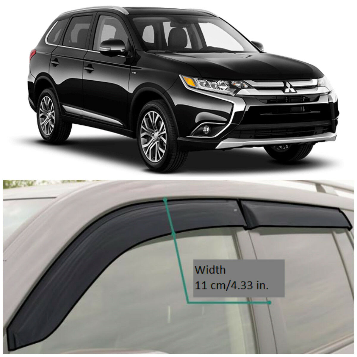 ME43712 Window Visors Vent Wide Deflectors For Mitsubishi Outlander 2012-2018