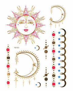 gold tattoo flash tattoos einmaltattoos sonne mond rot blau hautschmuck ys 103 ebay. Black Bedroom Furniture Sets. Home Design Ideas