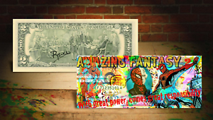 SPIDER MAN Amazing Fantasy Genuine $2 Bill SIGNED by Rency with Holder *MUST-SEE