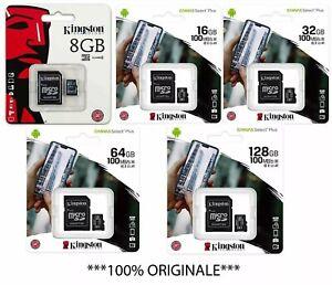 Kingston Micro SD 8 16 32 64 128 GB Classe 10 100MB/s Scheda di Memoria SDCS