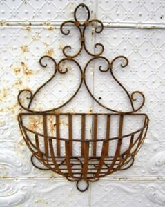 Wrought Iron Lg Susanna Half Wall Planter Basket Ebay