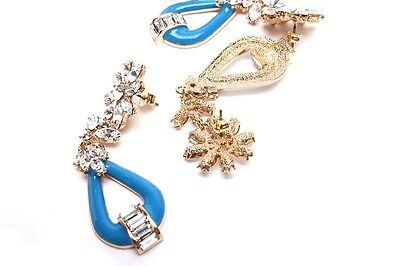 My Love from Stars Flower Cubic Blue Earrings Cheon Song yi Swarovski Gianna Jun