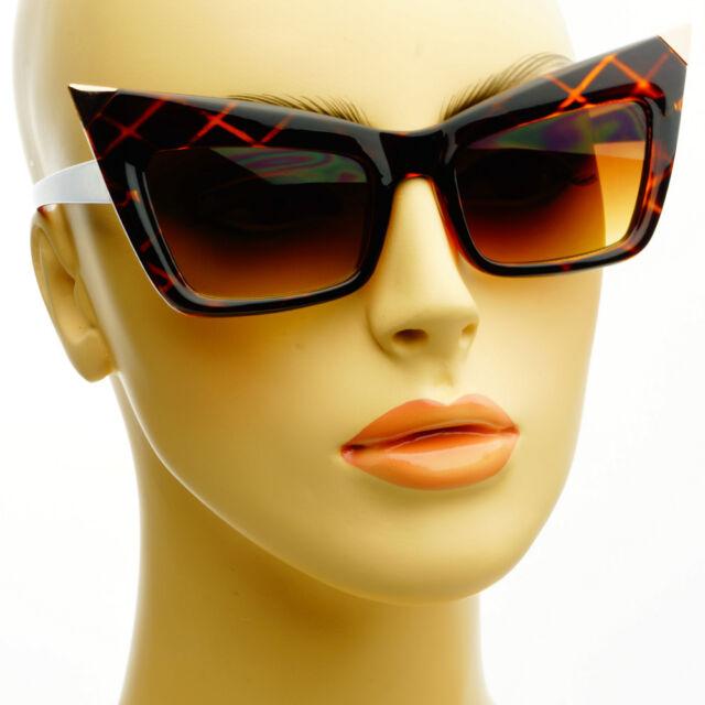Sleek Retro Fashion Style Metal Tips Cat Eye Sunglasses Shades Tortoise