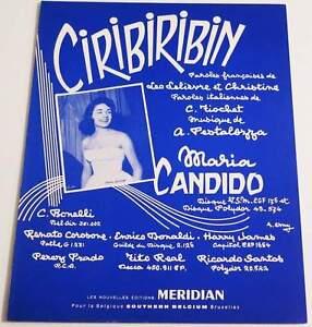 """Partition vintage sheet music MARIA CANDIDO : Ciribiribin * 50's - France - Commentaires du vendeur : """"Voir description svp / Please read details"""" - France"""