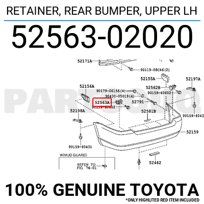 Genuine Toyota 52576-52091 Bumper Retainer