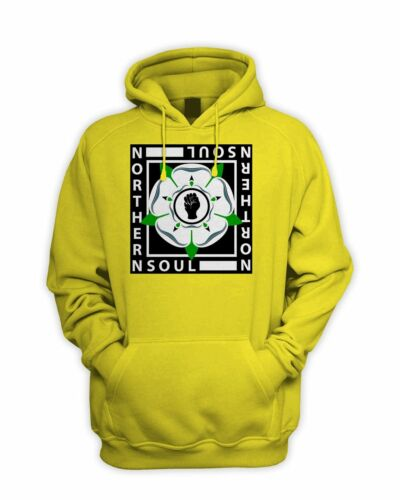 Northern Soul Yorkshire Rose Logo Pull Over Pouch Pocket Hoodie