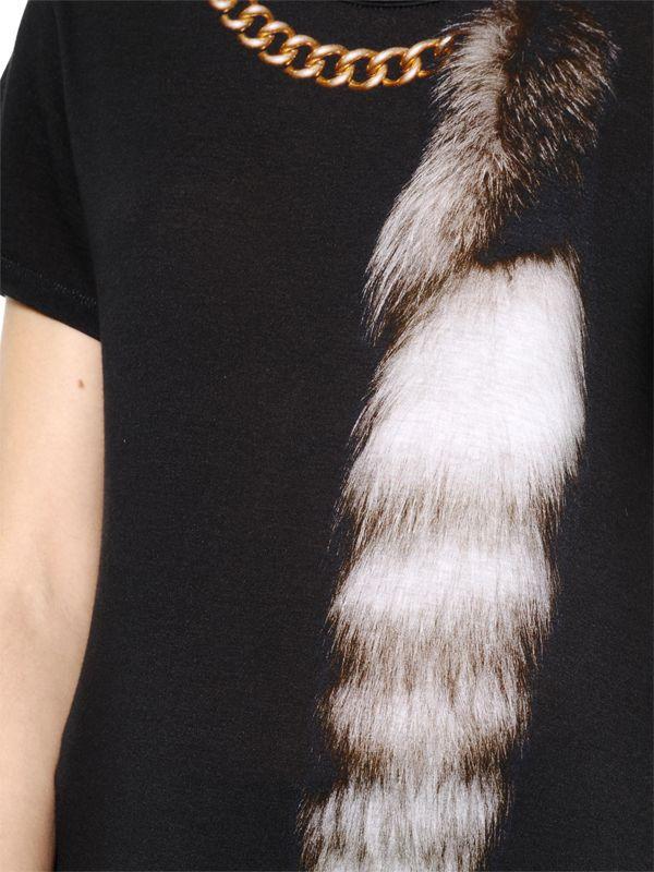 Alexander Mcqueen Schwarz Fox & Kette Bedruckte Baumwolle T-Shirt