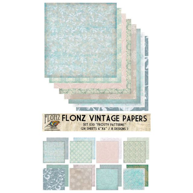 "Paper 24sh 6""x6"" # Frosted Winter Vintage # FLONZ Craft Scrapbooking 030"