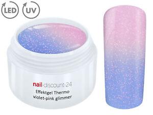 THERMO-Color-UV-LED-Gel-VIOLET-PINK-GLIMMER-Farb-Wechsel-Effekt-Nail-Art-Design