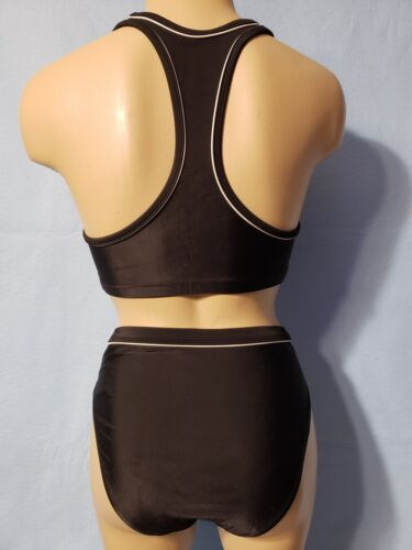 8 NEW Womans Champion 2-Piece Black Athletic SwimSuit White Trim 34 Small
