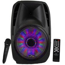 "beFree Sound 15"" 5000W Bluetooth Tailgate PA DJ Party Speaker Lights Remote"