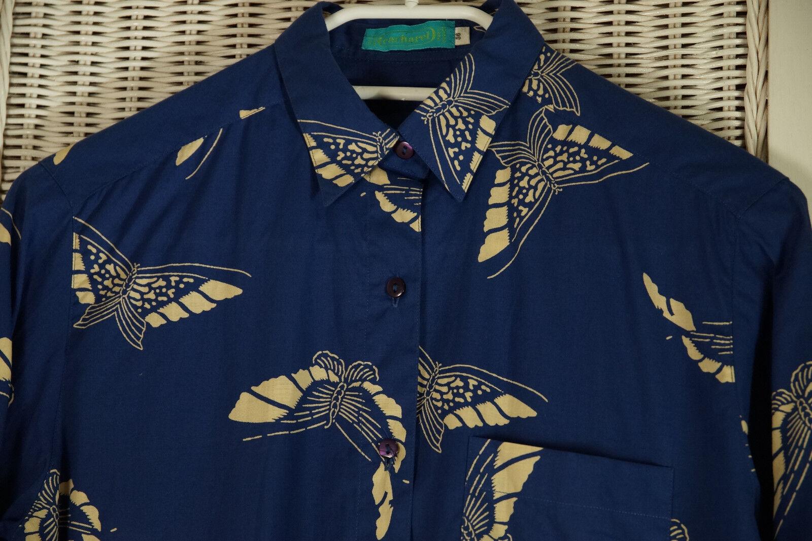 CACHAREL Butterfly Print Blouse 36 S Royal Blau Ecru Patterned Cotton Shirt Top