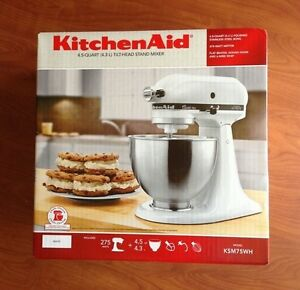 Details about KitchenAid KSM75WH Classic Plus White 4.5 Qt. Tilt Head Stand  Mixer Brand New!