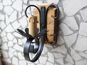 Applique rustico ferro battuto e legno 1 luce portalampade a forma