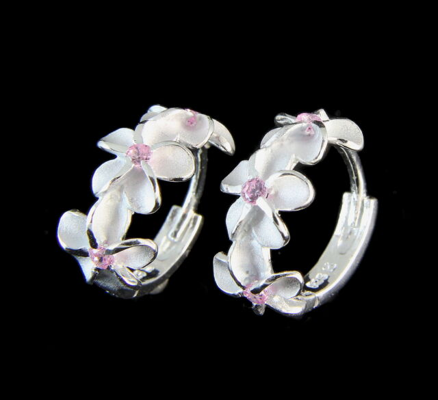 STERLING SILVER 925 HAWAIIAN 8MM 3 PLUMERIA FLOWER HOOP EARRINGS PINK CZ