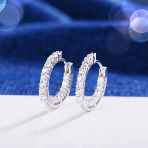 925 Sterling Silver Lab-Created Diamond Exquisite Small Hoop Earrings