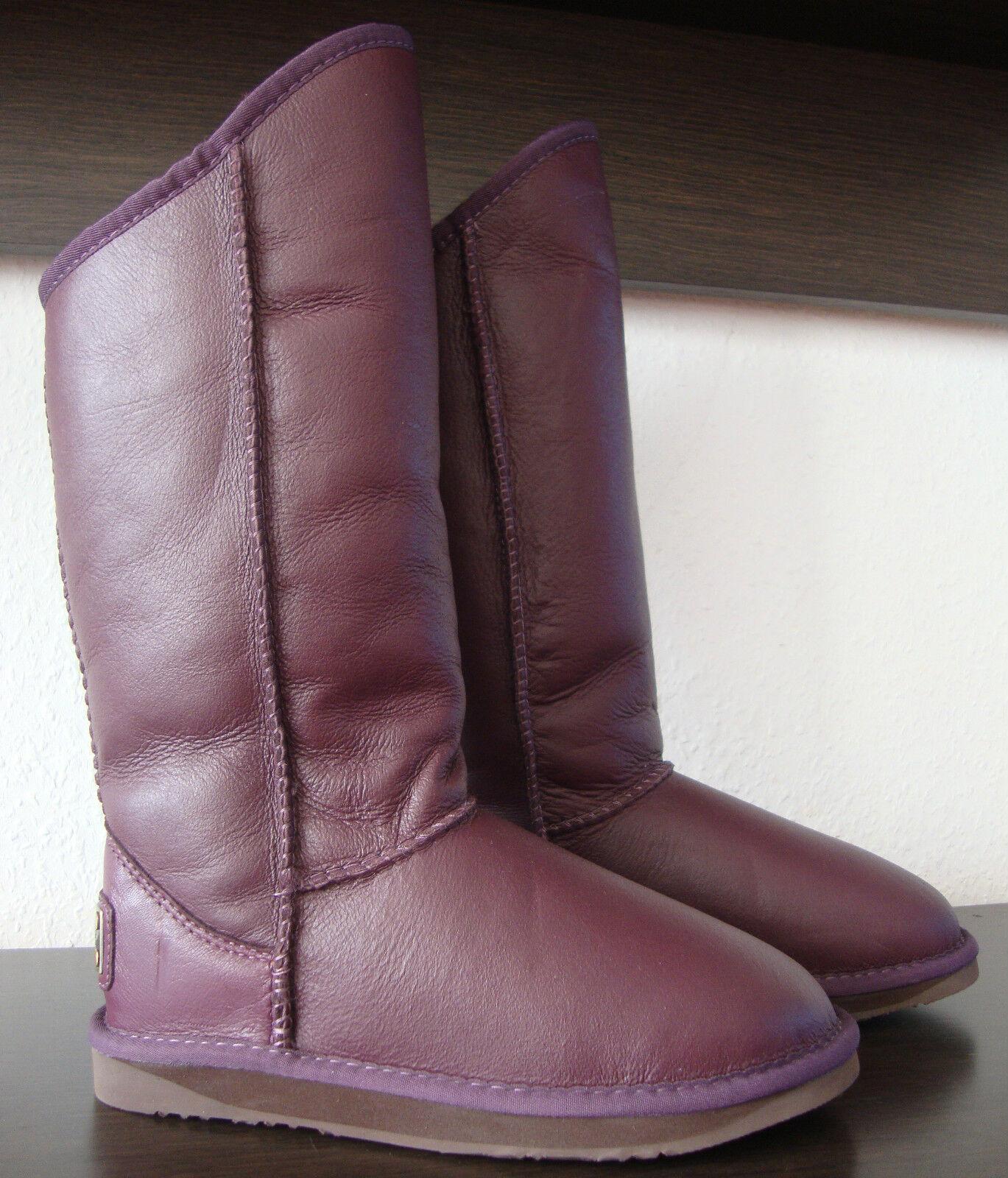A TRALIA Stiefel LUXE COSY TALL Stiefel TRALIA Damen Stiefel Leder Schuhe Lila Gr.37 NEU eaf00a